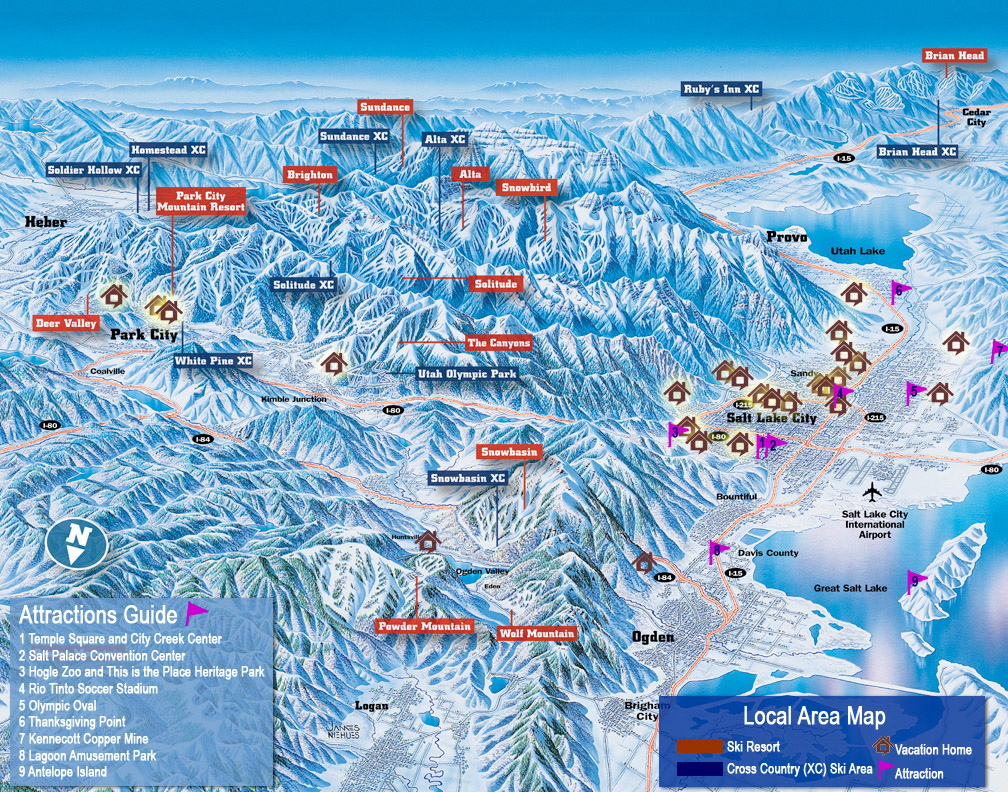 Area Map of Northern Utah Tourist Sites | Utah Map of Salt Lake Valley and Ski Resorts - Utah's Best Vacation Rentals