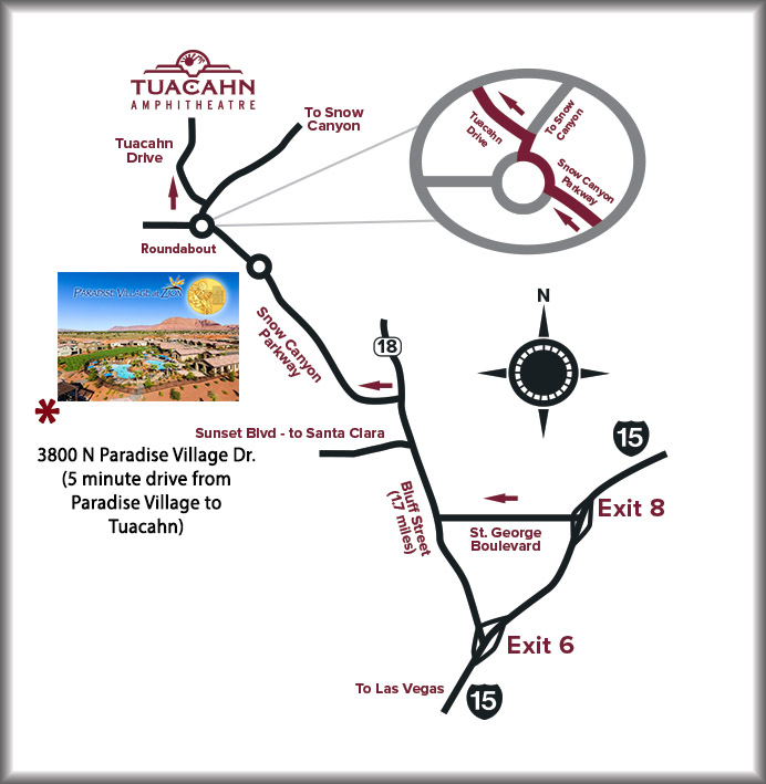 Directions Map to Tuacahn from Paradise Village at Zion - Utah's Best Vacation Rentals